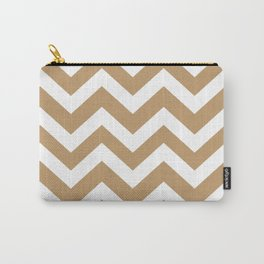Wood brown - brown color - Zigzag Chevron Pattern Carry-All Pouch