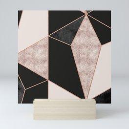 Modern geometric rose gold black pink marble Mini Art Print