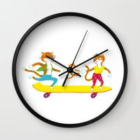 skate Wall Clocks featuring Skate by Matthias Leutwyler