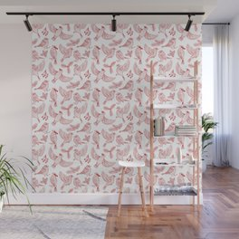 Winter Birds and Foliage Pattern (Red) Wall Mural