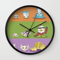 digimon Wall Clocks featuring Hey Digimon, hey Digimon!  by Sindorman