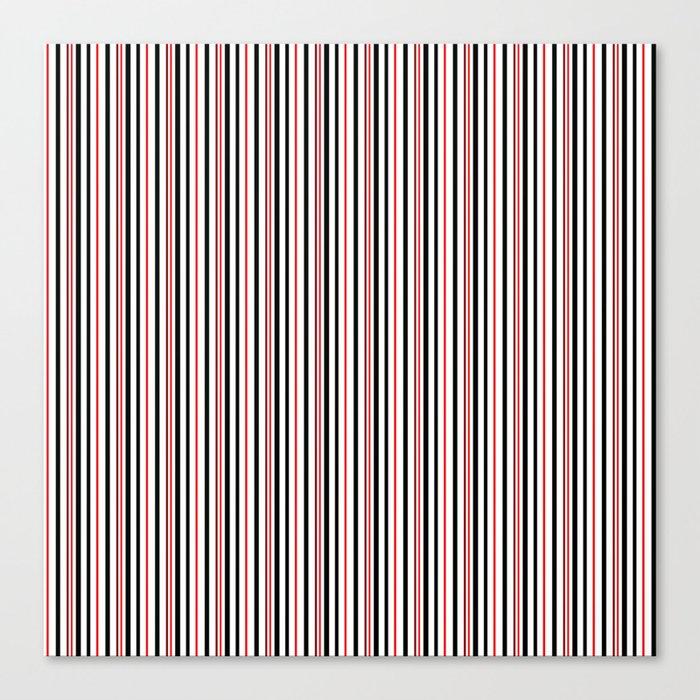 Red, black white striped pattern . Canvas Print