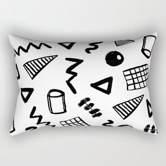 Black and white shapes minimal linocut pattern graphic scandi design Rectangular Pillow