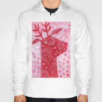 reindeer Hoodies featuring Reindeer by Nic Squirrell