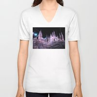 hogwarts V-neck T-shirts featuring Hogwarts by Anabella Nolasco