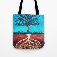 A tree only stands tall because of it's roots. Tote Bag
