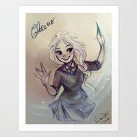 ravenclaw Art Prints featuring Elsa Ravenclaw by MitsouParker