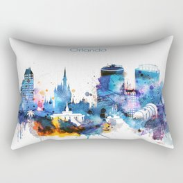 Watercolor Orlando skyline design Rectangular Pillow