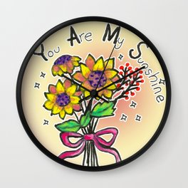 Sunflower Bouquet - you are my sunshine Wall Clock