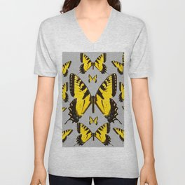 YELLOW SWALLOW TAILED BUTTERFLY PATTERNS GREY ART Unisex V-Neck