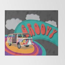 Groovy Camper Van Fantasy Throw Blanket