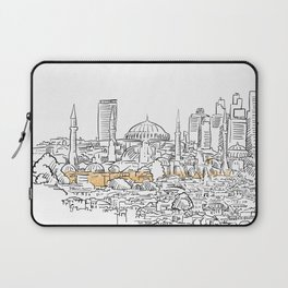 Modern and old Istanbul panorama drawing Laptop Sleeve