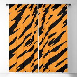 Bold and Beautiful Black and Orange Abstract Tiger Striped Pattern Blackout Curtain
