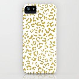 Animal Print, Leopard Spots, Glitter - Gold White iPhone Case