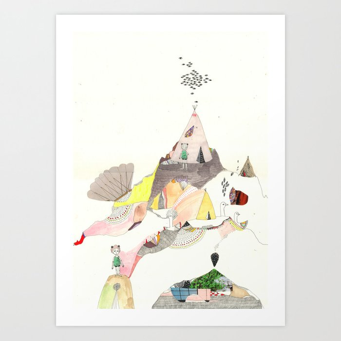 Kids Discover Magic Mountain Art Print