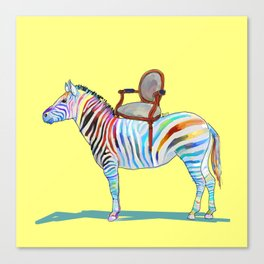 animals with chairs #4 Chair on a Zebra Canvas Print