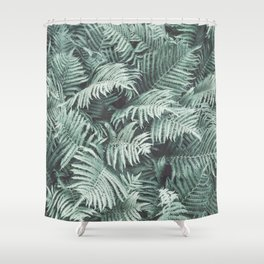 Fern Patten Turquoise Texture Shower Curtain