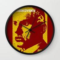 soviet Wall Clocks featuring Vladimir Mayakovsky, Soviet Poet by Adam Metzner