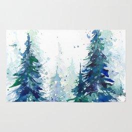 Watercolor winter fir forest Rug