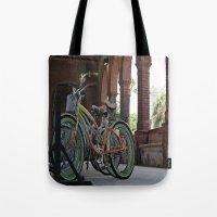 bikes Tote Bags featuring Bikes by Photaugraffiti
