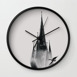 Head In The Clouds - Grey Wall Clock