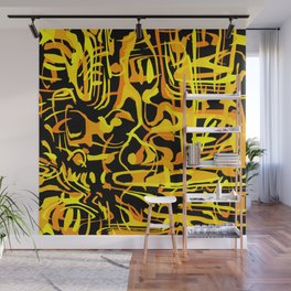 Chaotic scribbles in yellow friday tons on black. Wall Mural