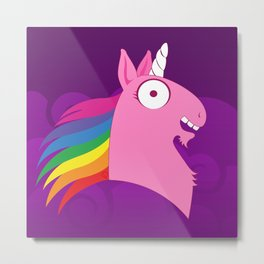 Silly Beasty: Pink Unicorn Metal Print