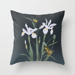 Irises & Stalking Frog Throw Pillow
