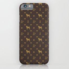 Louis Pug Face Luxury Dog Pattern iPhone Case