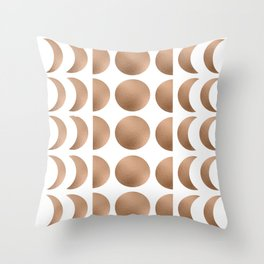 Rose Gold Moon Phase Pattern Throw Pillow
