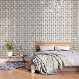 Shiba pattern with bubble tea Wallpaper