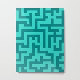 Teal and Turquoise Labyrinth Metal Print