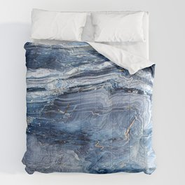 """Travel & nature photography """"details of a rock in blue colors. Abstract fine art mineral print.  Comforters"""
