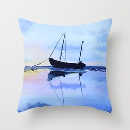 Single Boat Seascape Throw Pillow