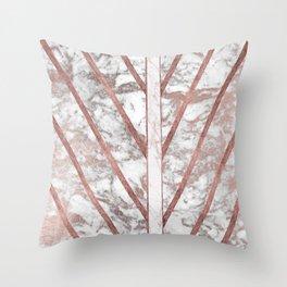 Modern faux rose gold white geometrical marble stripes Throw Pillow
