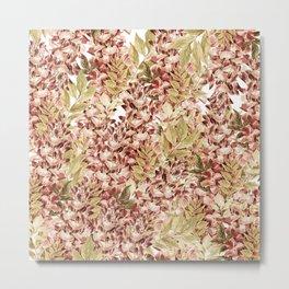 Vintage boho mauve pink dusty green floral Metal Print
