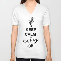 my chemical romance V-neck T-shirts featuring Keep Calm and Carry On: My Chemical Romance by alainaci