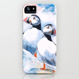 Puffins - I watch over you, little brother - by LiliFlore iPhone Case