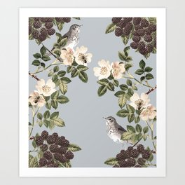 Birds and the Bees Gray Art Print