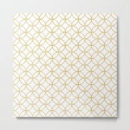 Japanese Traditional Design2 -SHIPPO- White&Gold Metal Print