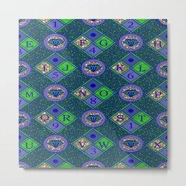african fabric number alphabeth diamond Metal Print