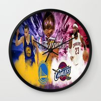basketball Wall Clocks featuring Basketball  by RickART