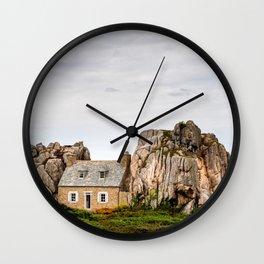 House between rocks in Brittany, Castel Meur Wall Clock