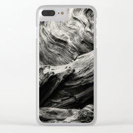 Etched by Nature Scarred by Man bw Clear iPhone Case