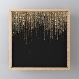 Luxury Chic Black Gold Sparkly Glitter Fringe Framed Mini Art Print