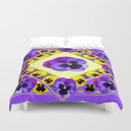 PURPLE GEOMETRIC  PURPLE & YELLOW  PANSIES  WITH CREAM COLOR Duvet Cover