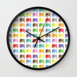 colored elephants pattern Wall Clock