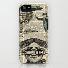 newspaper print dictionary page binoculars hot air balloon victorian steampunk iPhone Case