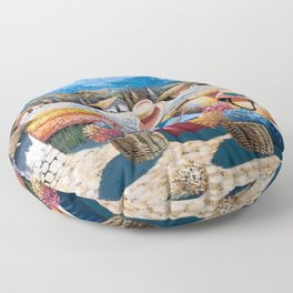 Peruvian Village Amid the Poppy and Calla Lily Fields in the Andes Mountains Floor Pillow