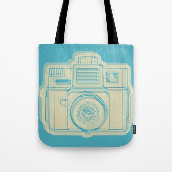 I Still Shoot Film Holga Logo - Turquoise/Tan Tote Bag